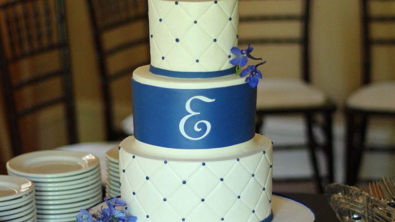 White And Royal Blue Wedding Cake Archives Ambrosia Cake Creations