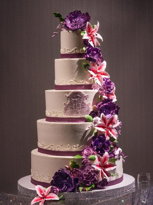 5 Tier Purple Flower Wedding Cake